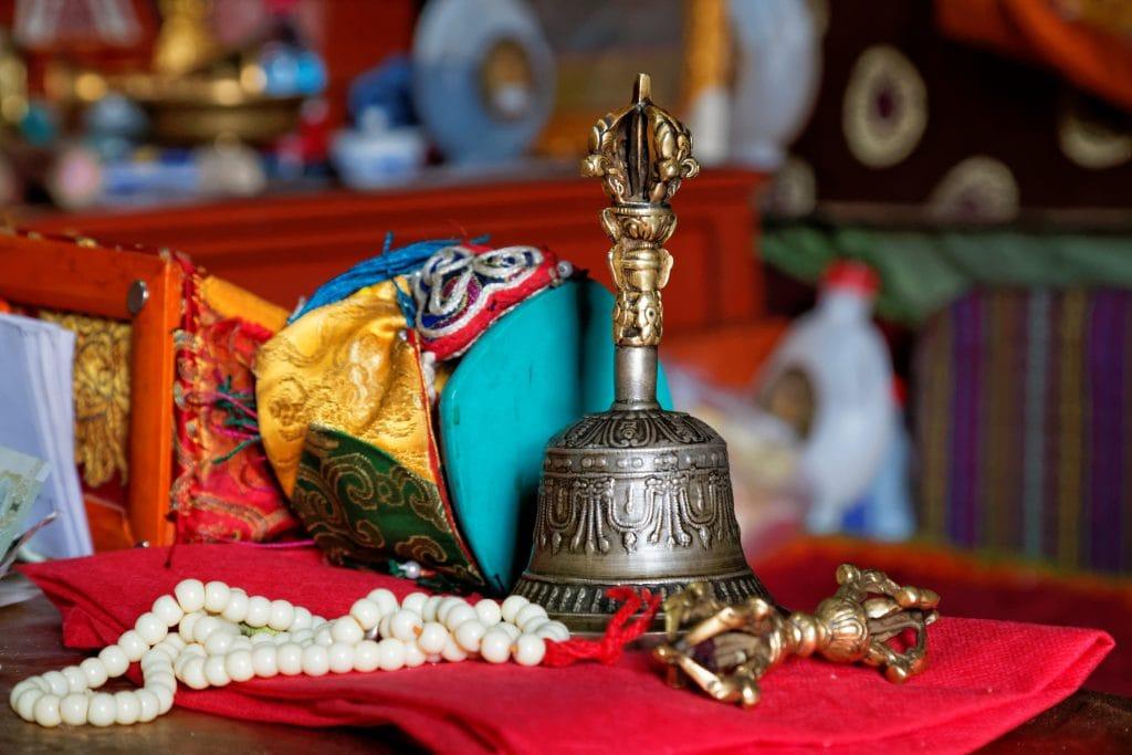Ritual objects in meditation cave in Chimpu