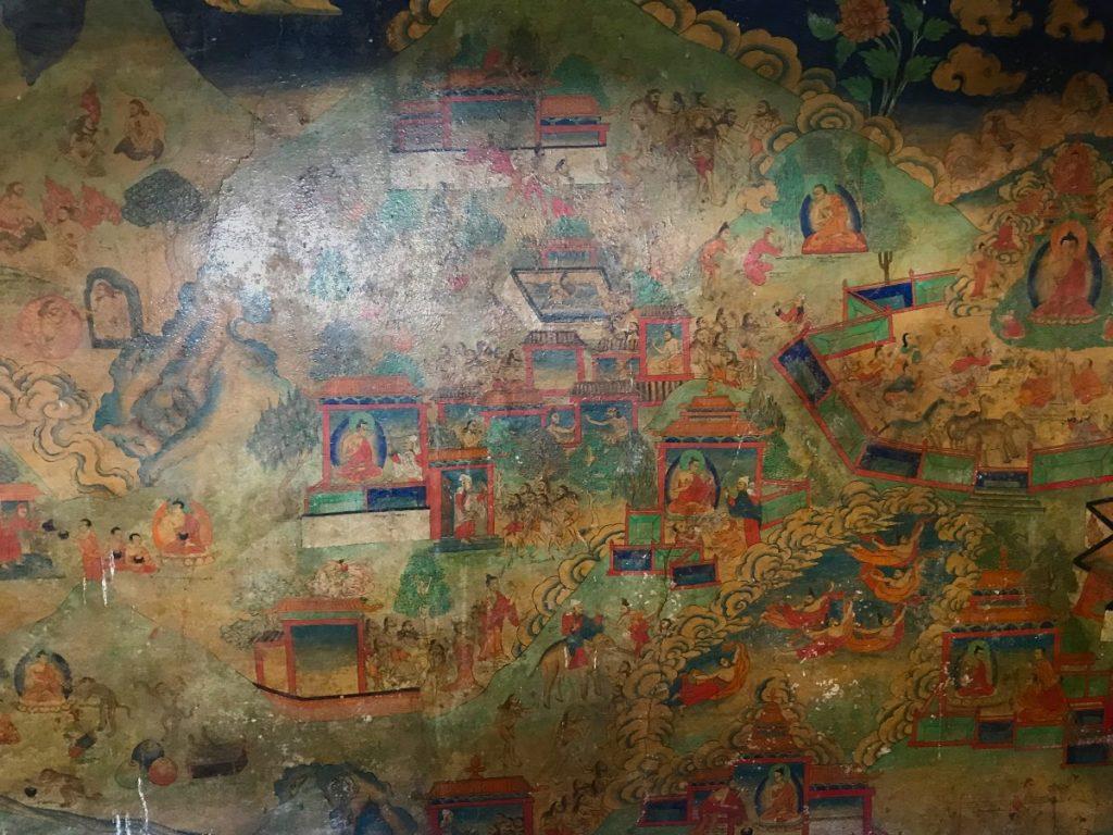 Murals in Phuntsok Ling monastery in Tibet