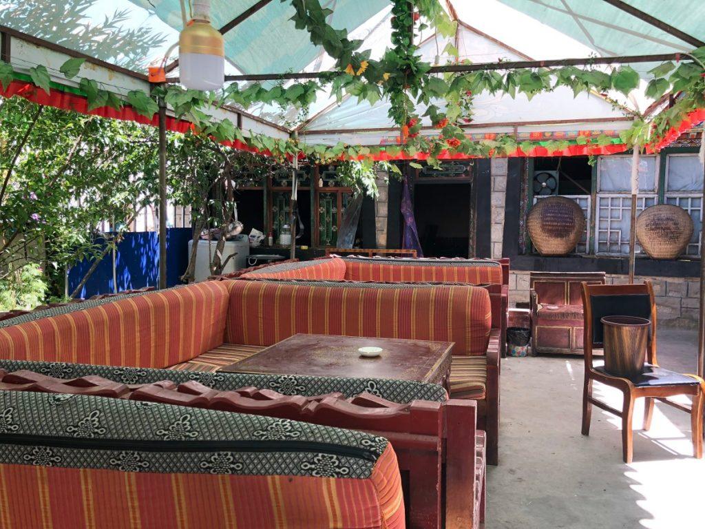Outdoor seating in Samye restaurant