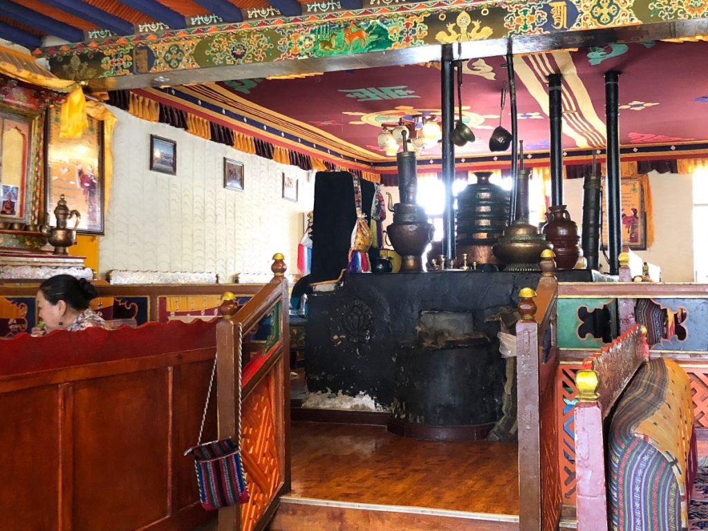 Tibetan decorations in Shigatse restaurant