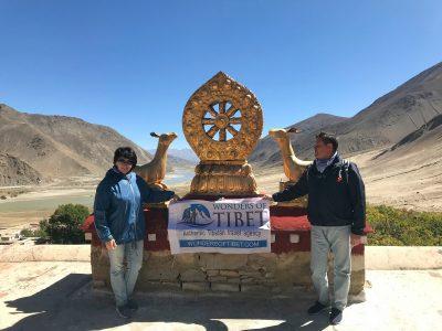 Travelers visiting Phuntsok Ling monastery in Tibet