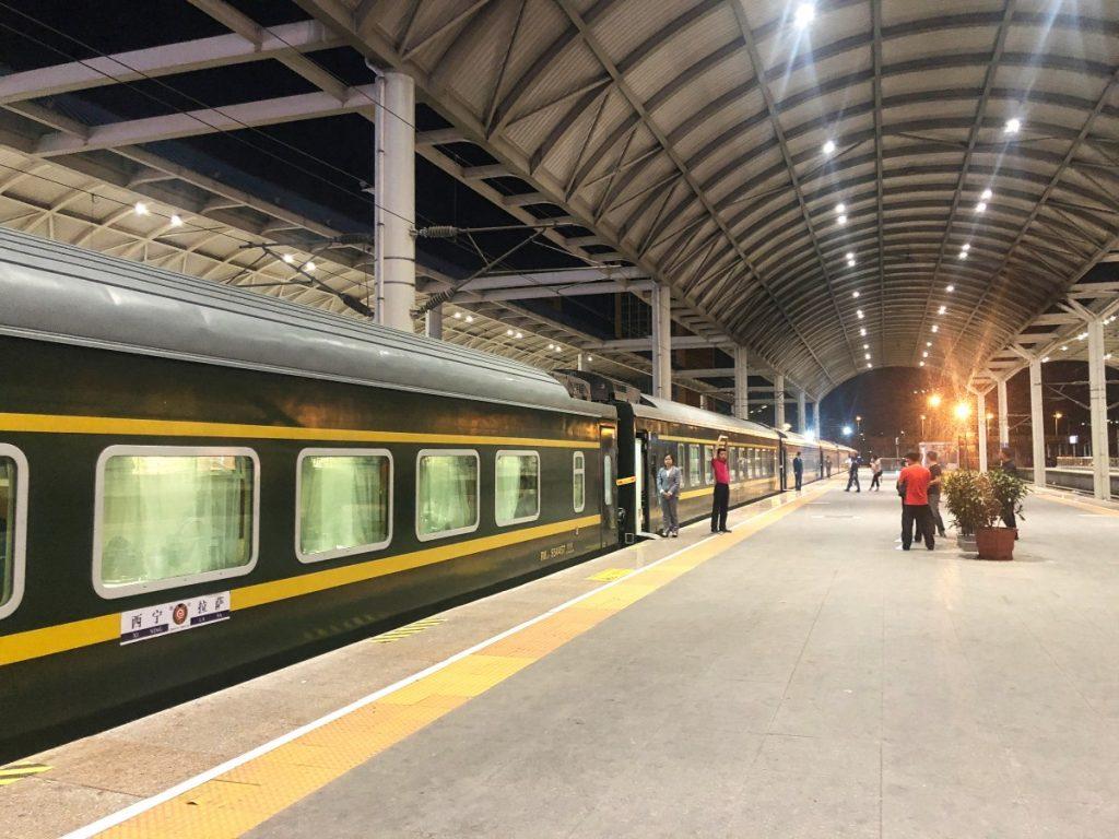 Xining train platform train departing to Lhasa